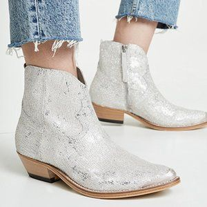 NEW Golden Goose Young Boots Silver Glitter Sequin